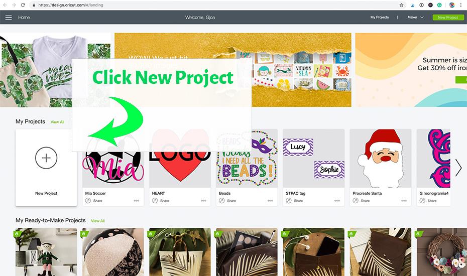 Welcome Screen in Cricut Design Space.