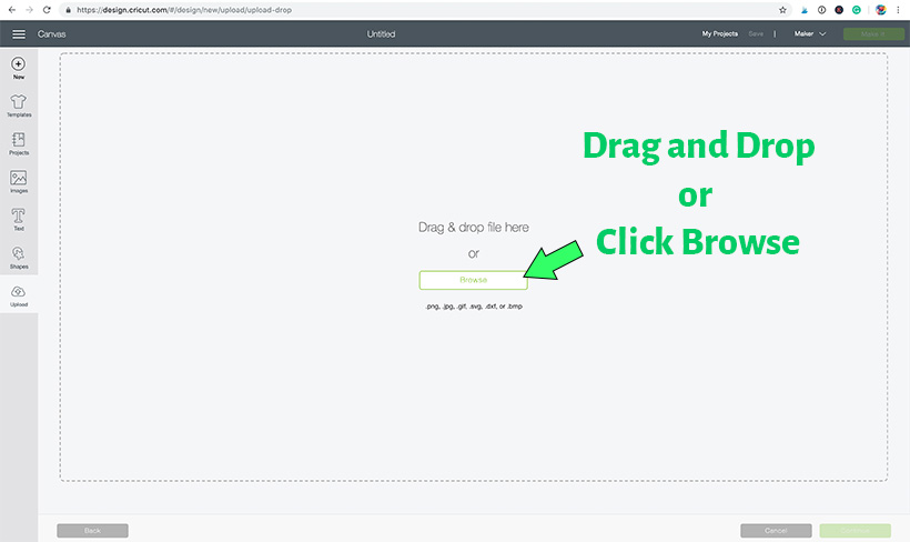 Cricut Design Space Screen - drag and drop or browse to locate SVG