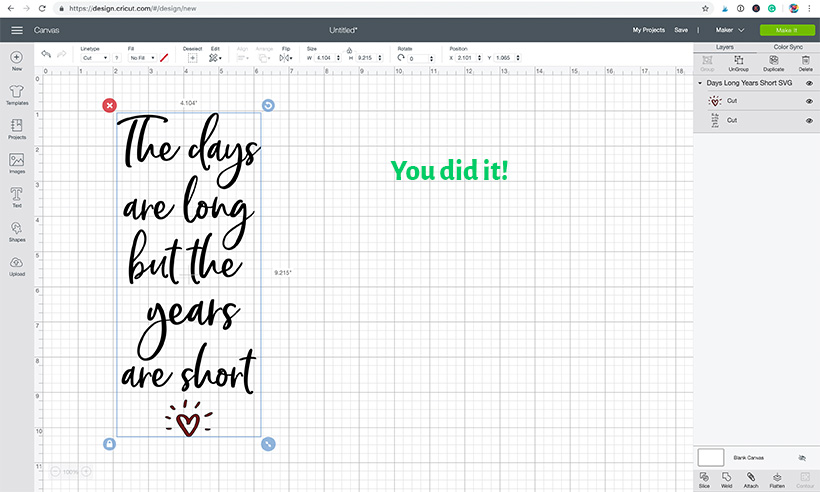 Cricut Design Space - project canvas with uploaded SVG design