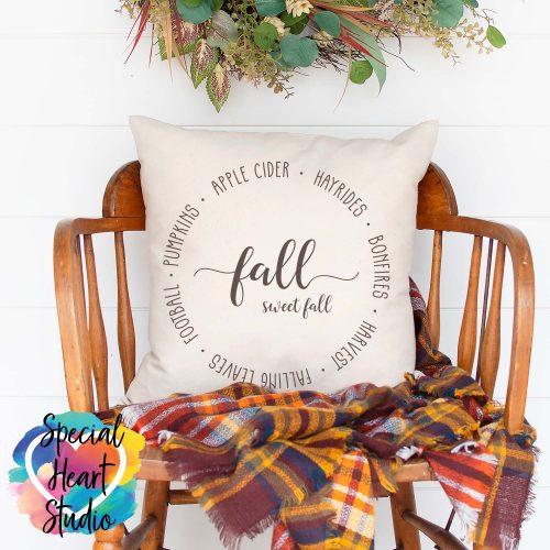 Fall Sweet Fall SVG pillow mockup