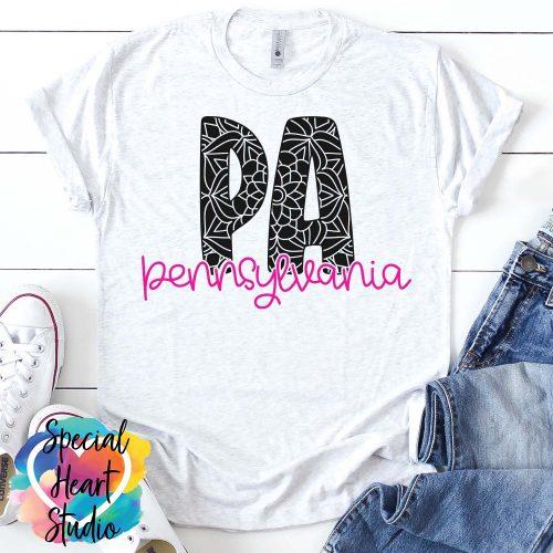 Pennsylvania Mandala SVG shirt mockup