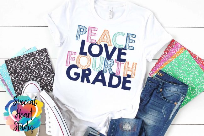 Mockup of Peace Love Fourth Grade SVG Cut File