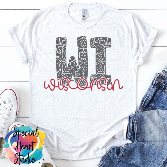 Wisconsin mandala SVG shirt mockup
