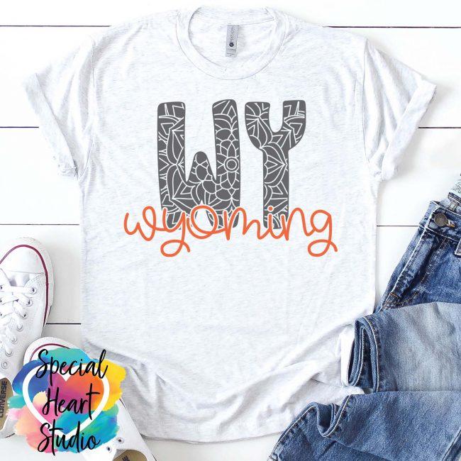 Wyoming mandala SVG shirt mockup