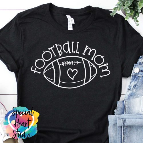 Football Mom Ball with Heart SVG black shirt mockup