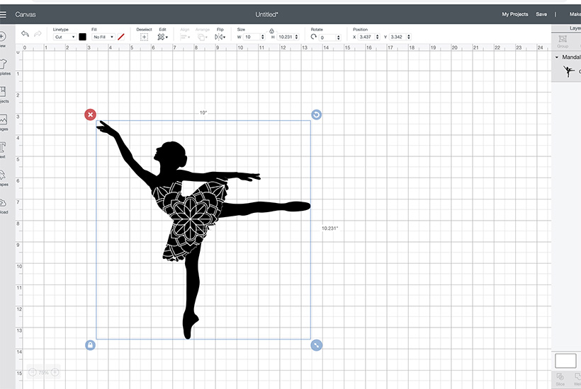 Screen shot of Cricut Design Space with Ballerina Mandala silhouette
