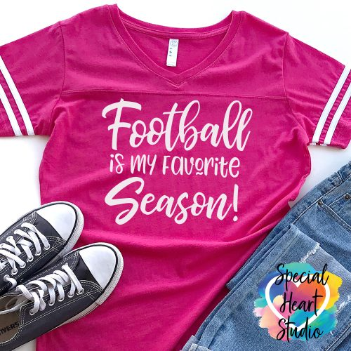 Football is my Favorite Season SVG Cut file on pink shirt mockup