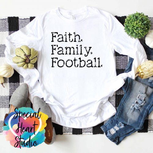 Faith Family Football white shirt mockup