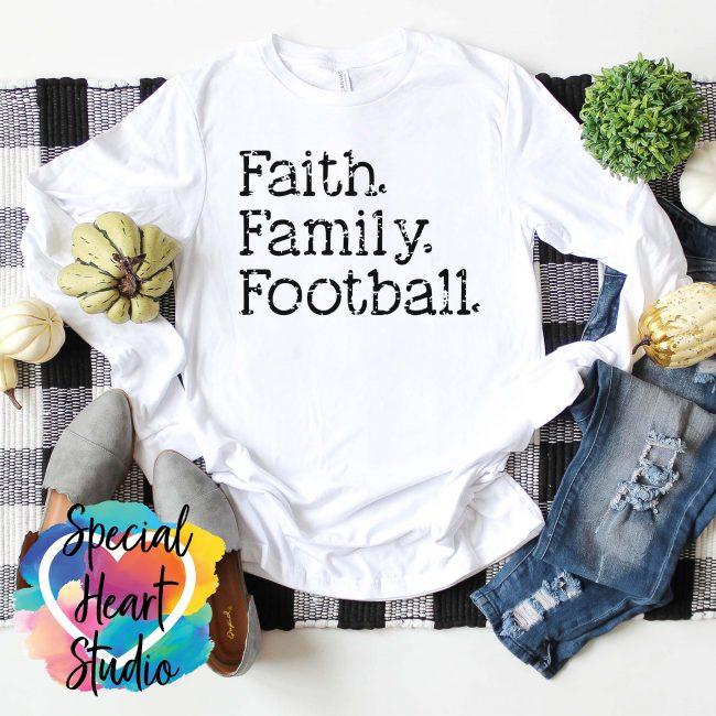 Faith Family Football white shirt mockup