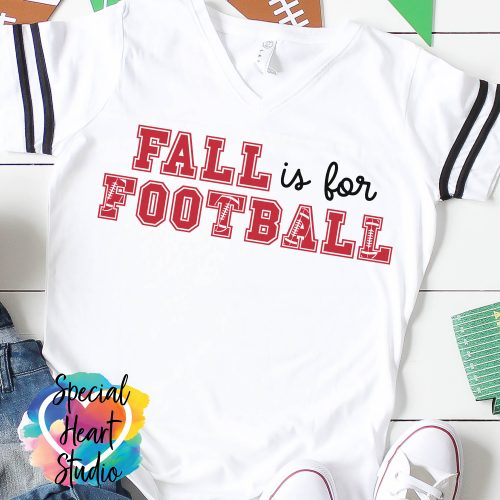 Fall is for Football SVG on white shirt mockup