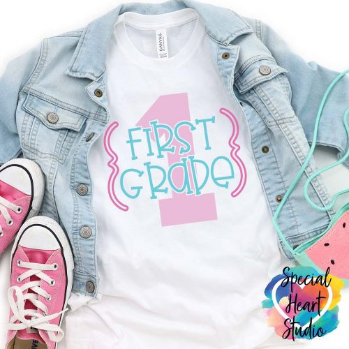 First Grade 1 SVG on white shirt mockup with jean jacket