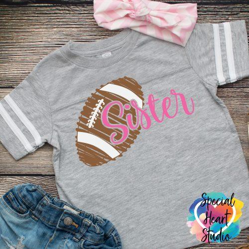 Football Sister SVG Cut file on gray shirt mockup