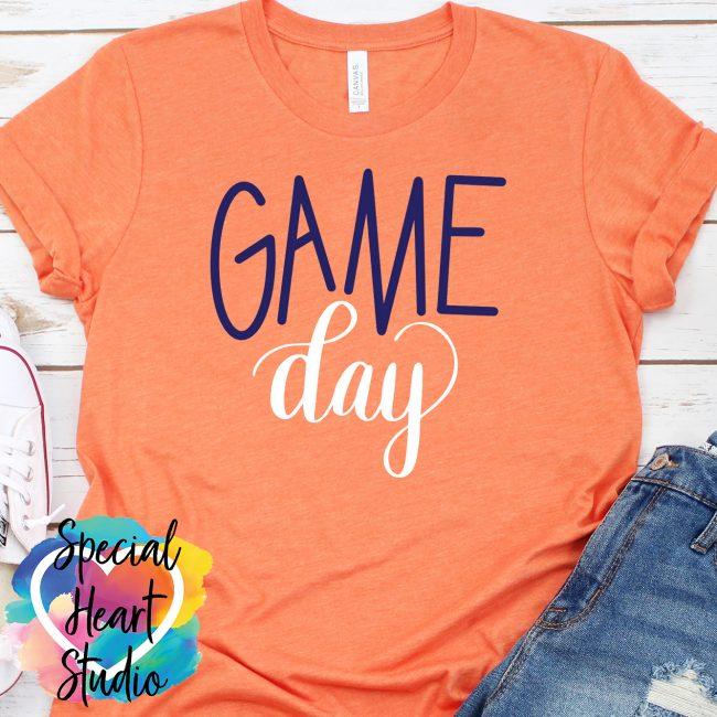 Game Day SVG on orange shirt mockup