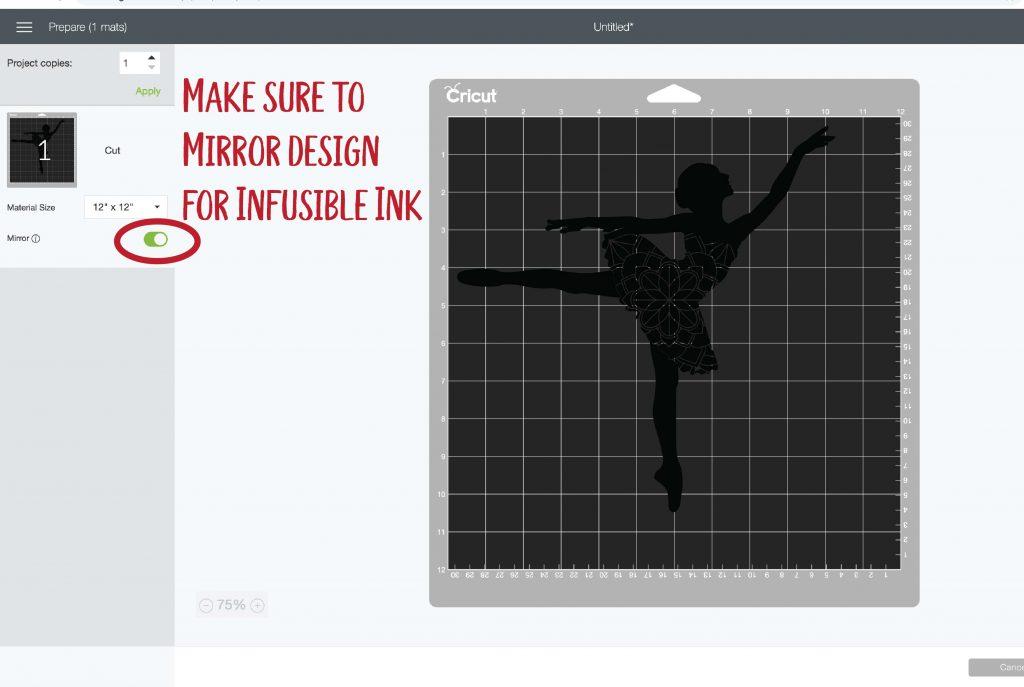 Screen shot of Cricut Design space prepare mat screen. Be sure to mirror design