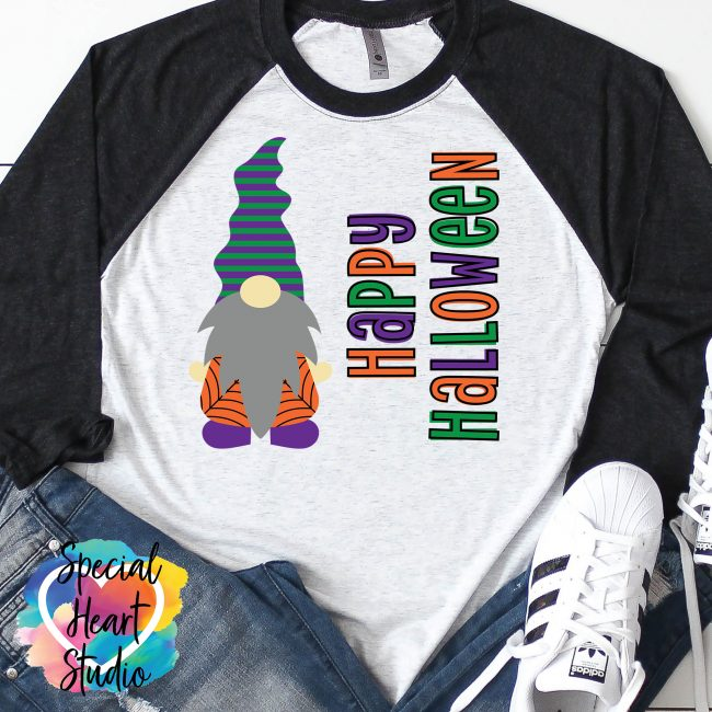 Gnome Happy Halloween SVG Cut file on raglan mockup