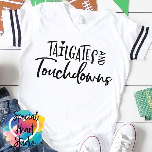 Tailgates and Touchdowns SVG white shirt mockup