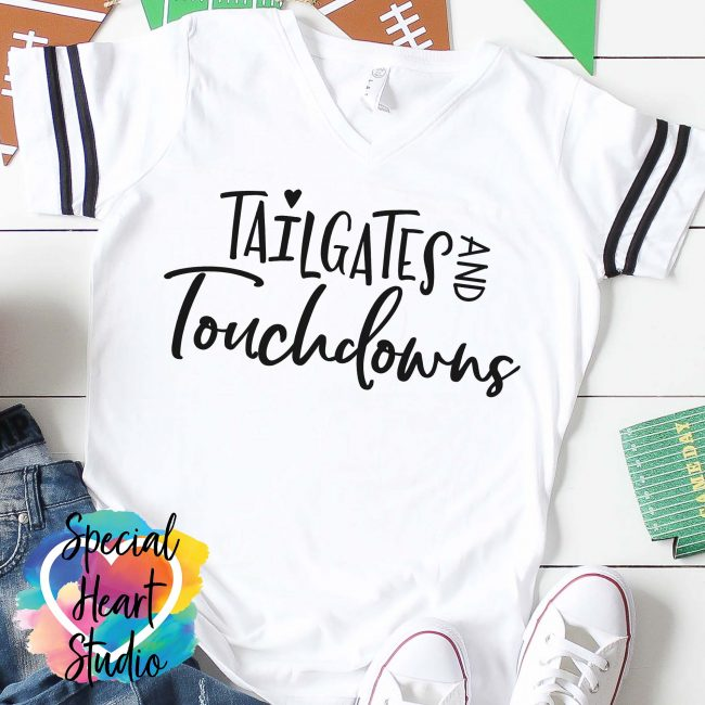 Tailgates and Touchdowns SVG white shirt mockup