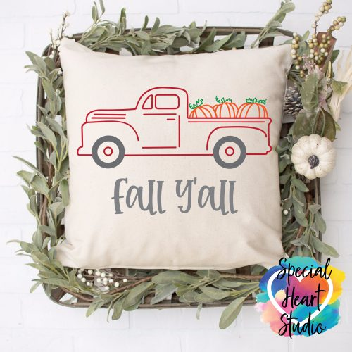 fall y'all red truck svg throw pillow mockup