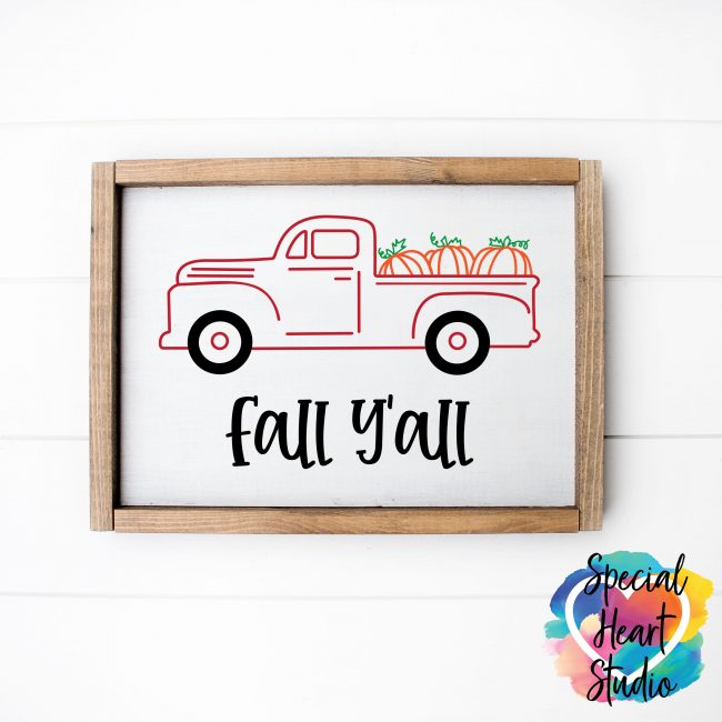 Fall Y'all red truck with pumpkin SVG wooden sign mockup