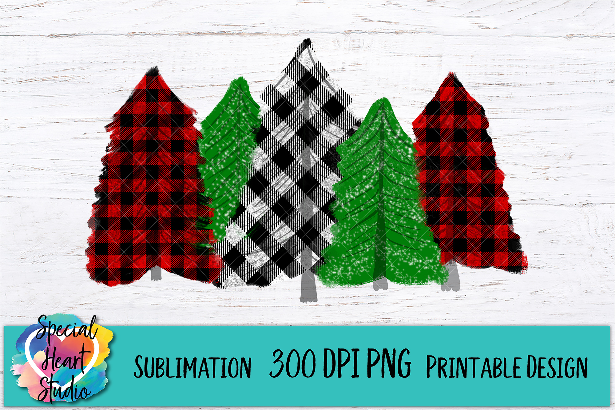 Buffalo Plaid Trees Printable Sublimation Png From Special Heart Studio