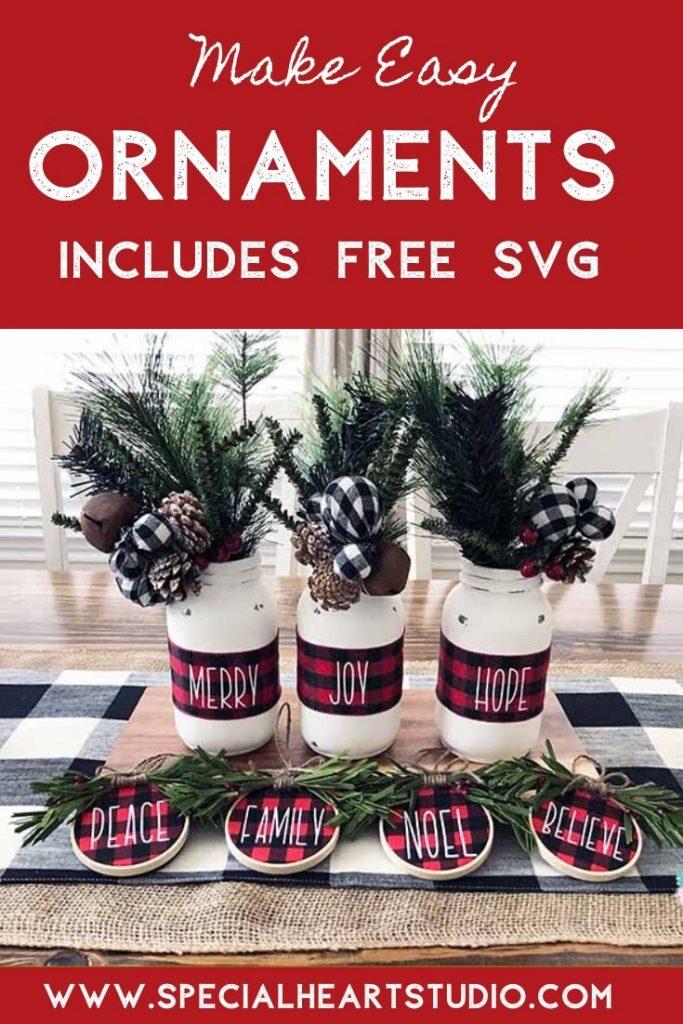 DIY Christmas ornaments with buffalo plaid and HTV