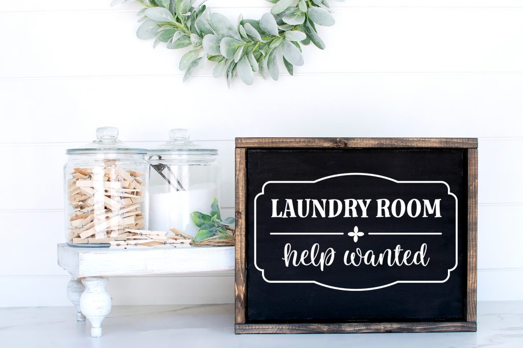 Landry Room Help Wanted Black Wood framed Sign