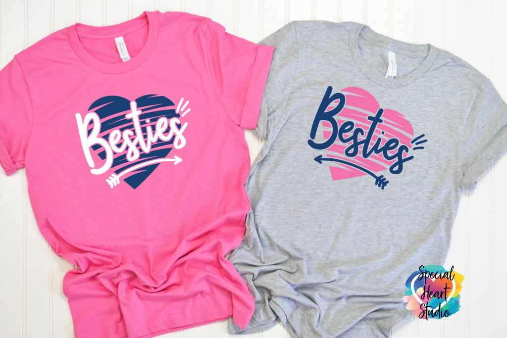 Besties SVG Cut File on two t-shirt mockups in Pink and Gray