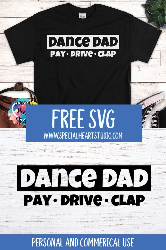 Black t-shirt with writing Dance Dad Pay * Drive * Clap