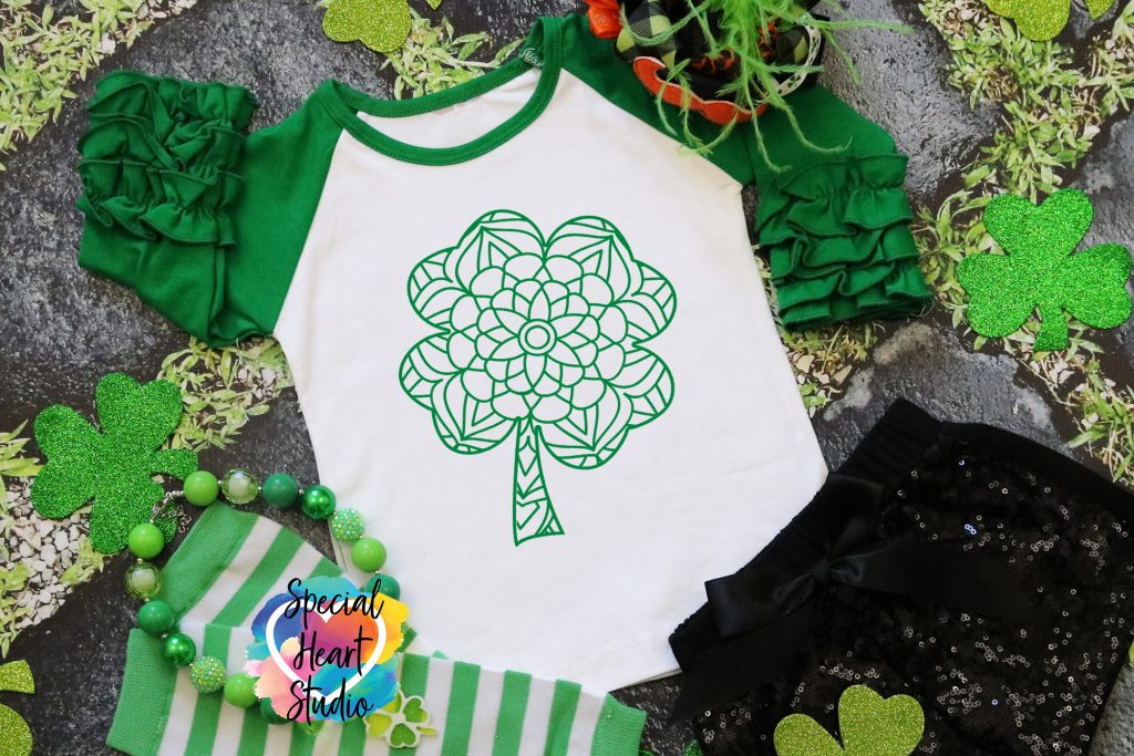 Mandala Sharmrock on green sleeve ruffle raglan