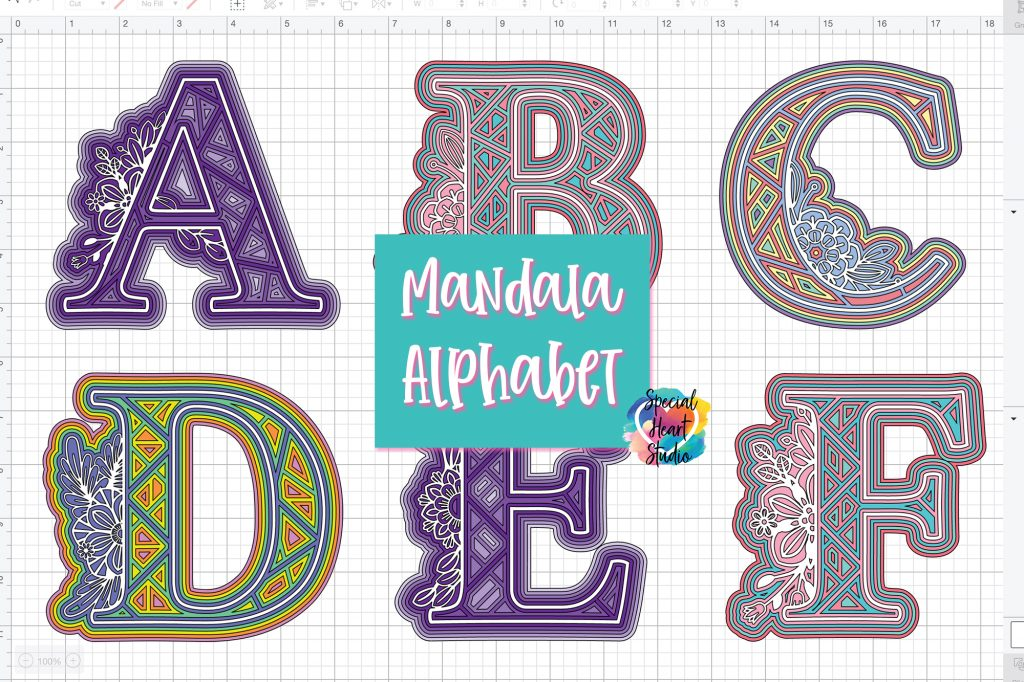 3D Layered Mandala style alphabet from Special Heart Studio