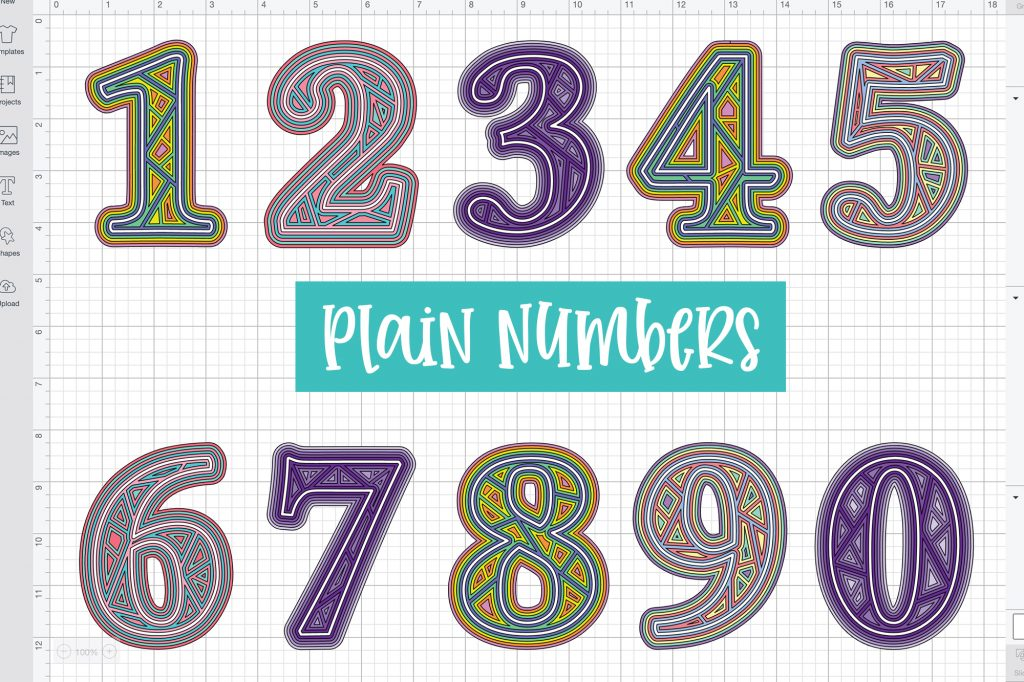Cricut 3D Numbers Layered Mandala 0-9 3 layers Commercial use Glowforge SVG Silhouette