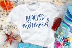 White T-shirt with Beached Mermaid in Blue
