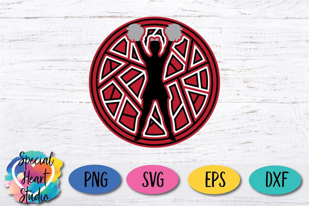 Special Heart Studio PNG SVG EPS DXF Circle layered mandala cheerleader design in red black white and silver glitter
