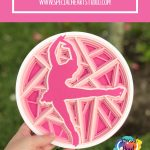 Layered pink cardstock mandala style figure skater in circle free cut file