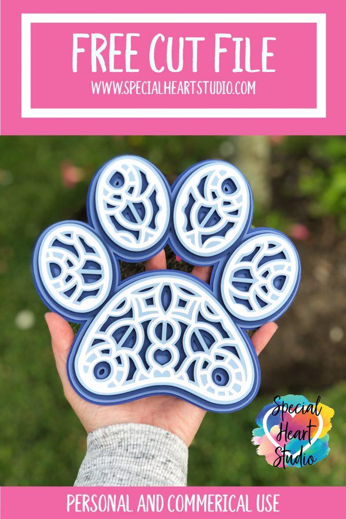 layered blue and white paw print shaped mandala free cut file