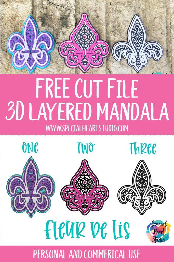 Three card stock layered mandalas with Free Cut file 3D layered Fleur De Lis