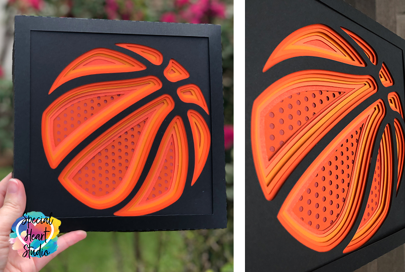 Split view photo of front and side angle view of layered basketball svg cut file.