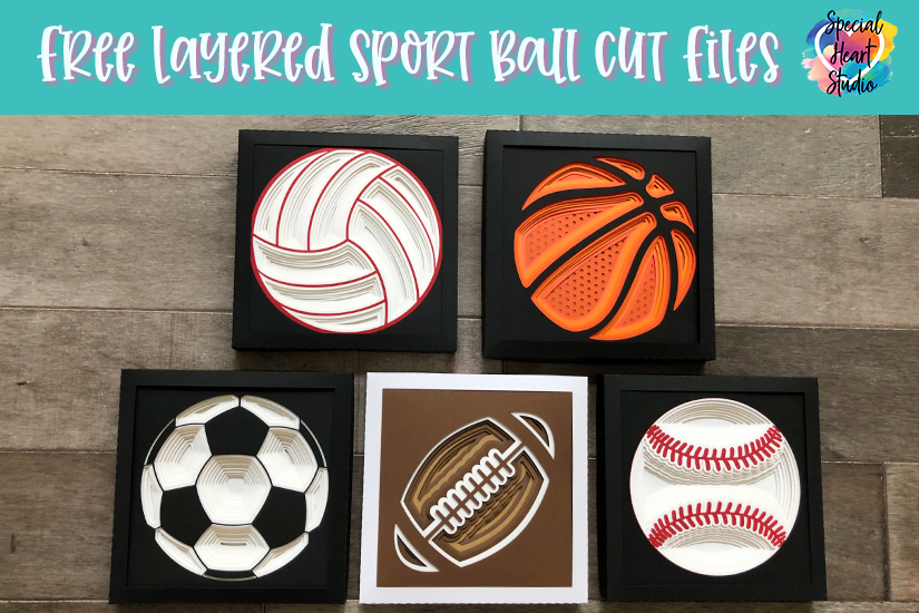 Layered Cardstock shadow boxes of a Volleyball, Basketball, Soccer ball, Football and Baseball.