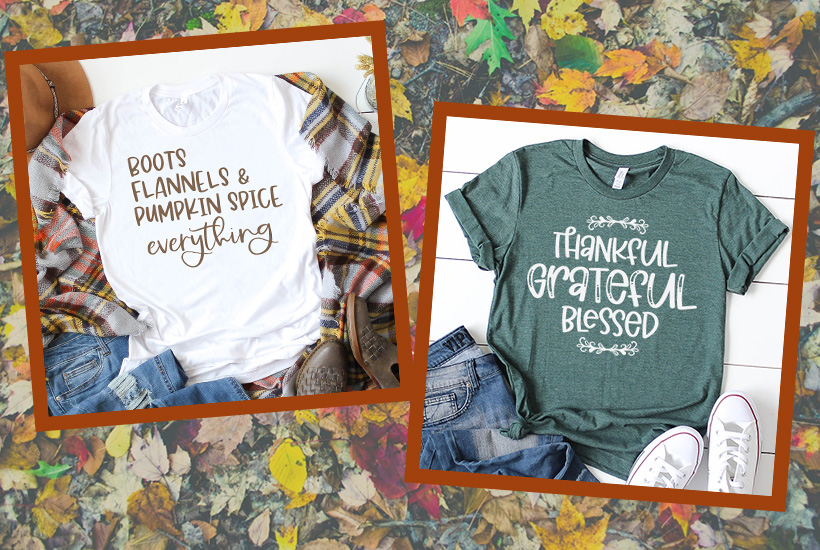 Two Fall T-shirts with fall leaves in background. White shirt has Boots Flannels Pumpkin Spice Everything and dark green shirt Thankful Grateful Blessed