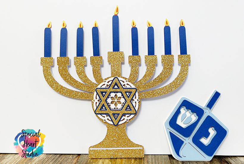 Layered Cardstock Menorah and Dreidel