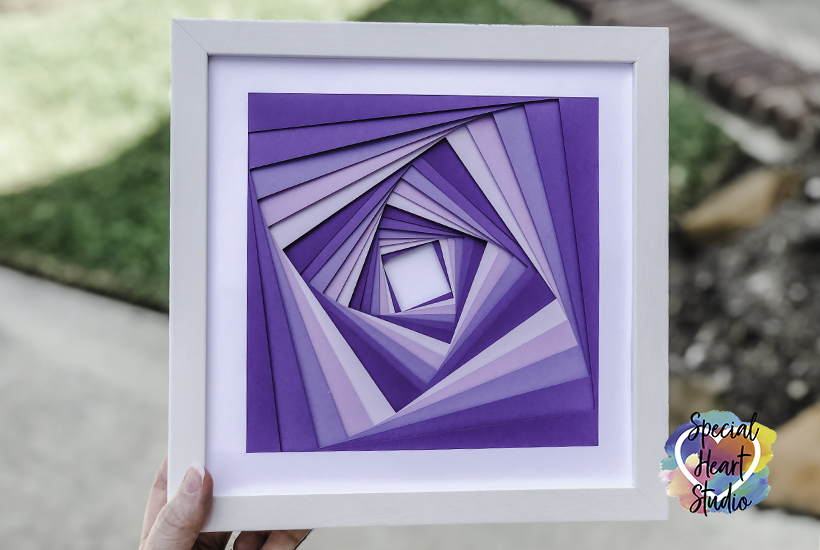 White Framed purple squares illusion art